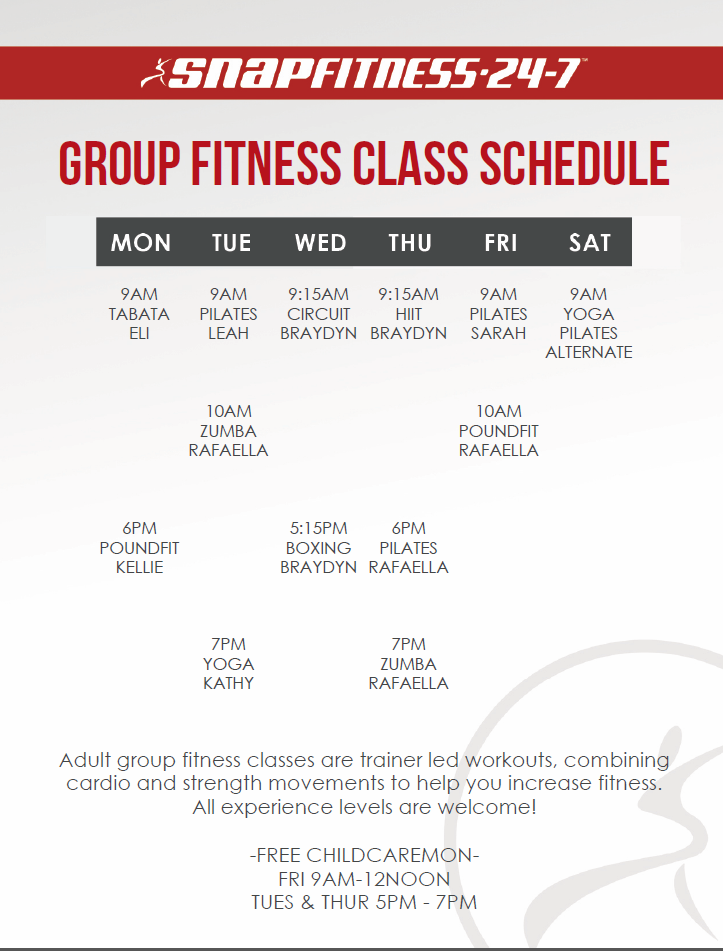 Group Training Timetable