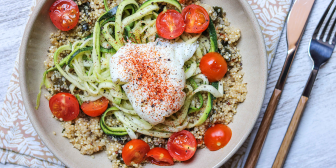 Zoodles with Quinoa and Poached Egg