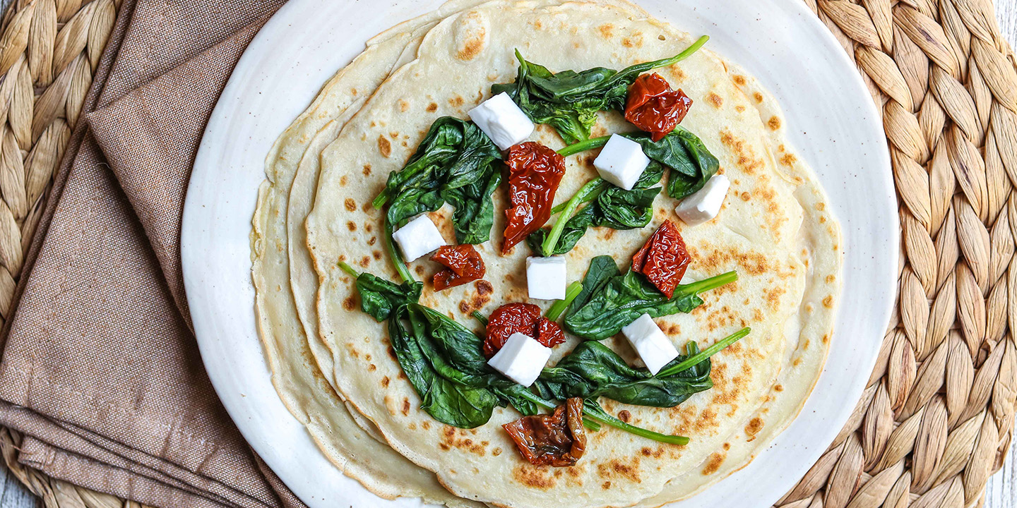 Spinach, Tomato and Feta Stuffed Crepes