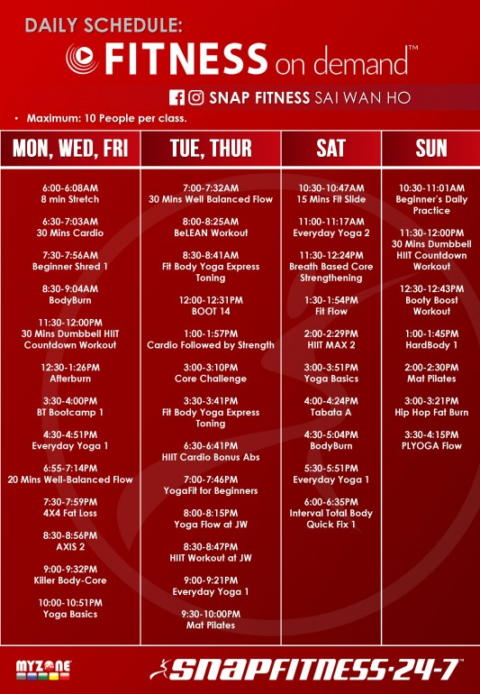 Snap Weekly Schedule SWH FOD